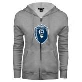 ENZA Ladies Grey Fleece Full Zip Hoodie-Lion Shield