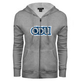 ENZA Ladies Grey Fleece Full Zip Hoodie-ODU