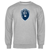 Grey Fleece Crew-Lion Shield