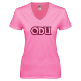 Next Level Ladies Junior Fit Ideal V Pink Tee-ODU Hot Pink Glitter