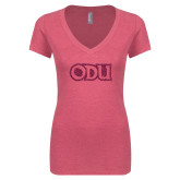 Next Level Ladies Vintage Pink Tri Blend V-Neck Tee-ODU Hot Pink Glitter