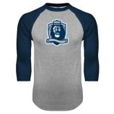 Grey/Navy Raglan Baseball T Shirt-Monarchs Shield