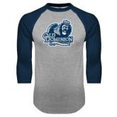Grey/Navy Raglan Baseball T Shirt-Primary Mark Distressed