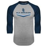 Grey/Navy Raglan Baseball T Shirt-Baseball Plate