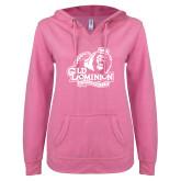 ENZA Ladies Hot Pink V Notch Raw Edge Fleece Hoodie-Primary Mark