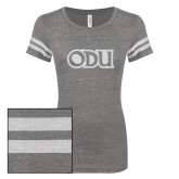ENZA Ladies Dark Heather/White Vintage Triblend Football Tee-ODU White Soft Glitter