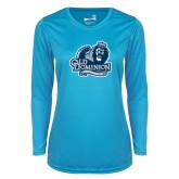 Ladies Syntrel Performance Light Blue Longsleeve Shirt-Primary Mark