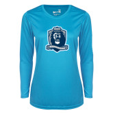 Ladies Syntrel Performance Light Blue Longsleeve Shirt-Monarchs Shield