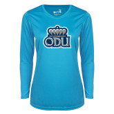 Ladies Syntrel Performance Light Blue Longsleeve Shirt-ODU w Crown