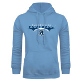 Light Blue Fleece Hoodie-Football Wings