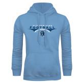 Light Blue Fleece Hoodie-Football Wings