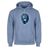 Light Blue Fleece Hoodie-Lion Shield