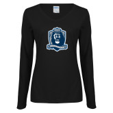 Ladies Black Long Sleeve V Neck Tee-Monarchs Shield