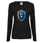 Ladies Black Long Sleeve V Neck Tee-Lion Shield