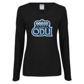 Ladies Black Long Sleeve V Neck Tee-ODU w Crown