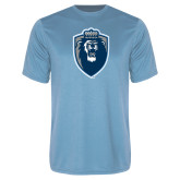 Performance Light Blue Tee-Lion Shield