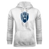White Fleece Hoodie-Lion Shield