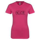 Ladies SoftStyle Junior Fitted Fuchsia Tee-ODU Hot Pink Glitter