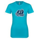 Next Level Ladies SoftStyle Junior Fitted Ice Blue Tee-Primary Mark