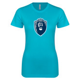 Next Level Ladies SoftStyle Junior Fitted Ice Blue Tee-Lion Shield