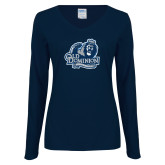 Ladies Navy Long Sleeve V Neck Tee-Primary Mark