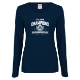Ladies Navy Long Sleeve V Neck T Shirt-Conference USA Womens Golf Champions
