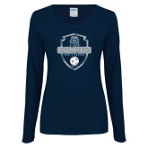 Ladies Navy Long Sleeve V Neck Tee-2017 Conference USA Mens Soccer
