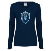 Ladies Navy Long Sleeve V Neck Tee-Lion Shield