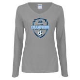 Ladies Grey Long Sleeve V Neck T Shirt-2017 Conference USA Mens Soccer