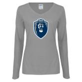 Ladies Grey Long Sleeve V Neck Tee-Lion Shield