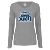 Ladies Grey Long Sleeve V Neck Tee-ODU w Crown