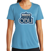 Ladies Syntrel Performance Light Blue Tee-ODU w Crown