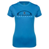 Ladies Syntrel Performance Light Blue Tee-Football Inside
