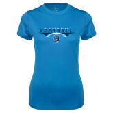Ladies Syntrel Performance Light Blue Tee-Football Wings