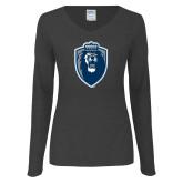 Ladies Dark Heather Long Sleeve V Neck Tee-Lion Shield