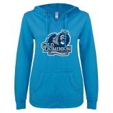 ENZA Ladies Pacific Blue V Notch Raw Edge Fleece Hoodie-Primary Mark