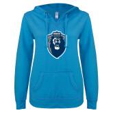 ENZA Ladies Pacific Blue V Notch Raw Edge Fleece Hoodie-Lion Shield