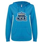 ENZA Ladies Pacific Blue V Notch Raw Edge Fleece Hoodie-ODU w Crown