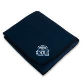 Navy Arctic Fleece Blanket-ODU w Crown