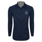 Ladies Navy Twill Button Down Long Sleeve-Monarchs Shield