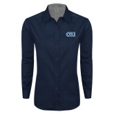 Ladies Navy Twill Button Down Long Sleeve-ODU