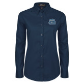 Ladies Navy Twill Button Down Long Sleeve-ODU w Crown