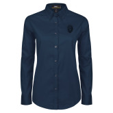 Ladies Navy Twill Button Down Long Sleeve-Lion Shield