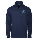Navy Rib 1/4 Zip Pullover-Monarchs Shield