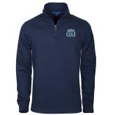 Navy Slub Fleece 1/4 Zip Pullover-ODU w Crown