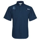 Columbia Tamiami Performance Navy Short Sleeve Shirt-Monarchs Shield