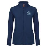 Ladies Fleece Full Zip Navy Jacket-ODU w Crown