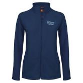 Ladies Fleece Full Zip Navy Jacket-Old Dominion University