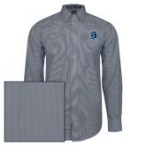 Mens Navy/White Striped Long Sleeve Shirt-Monarchs Shield