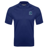 Navy Textured Saddle Shoulder Polo-Monarchs Shield
